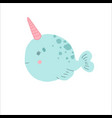 little cute banarwhal fantasy magical creature vector image