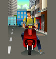 man riding a scooter vector image vector image