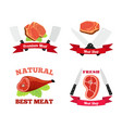 meat logos labels fresh meat pork in flat style vector image vector image