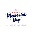 memorial day usa lettering poster vector image vector image