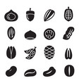 nut icon set vector image vector image