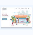 opening ceremony website landing page vector image vector image