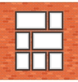 Picture photo frames on red bricks wall vector image vector image