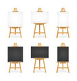 realistic detailed 3d white and black blank easel vector image vector image