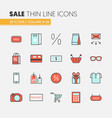 sale discount linear thin line icons set vector image