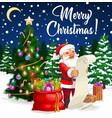 santa with christmas tree xmas gifts wish list vector image