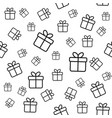 seamless pattern with line gift boxes vector image vector image