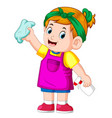 smart girl clean up everything with the towel vector image vector image