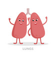 strong healthy lungs cartoon character isolated on vector image vector image