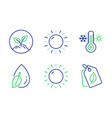 sun energy thermometer and water drop icons set vector image vector image