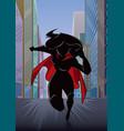 superheroine running in city silhouette vector image vector image