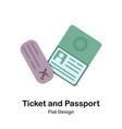 ticket and passport flat vector image vector image