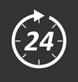 time icon flat 24 hours on black background vector image vector image