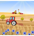tractor at the farm wheat vector image vector image