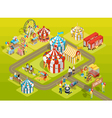 Travel Circus Fairground Isometric Layout Poster vector image vector image