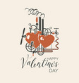 valentine card with love factory and inscription vector image