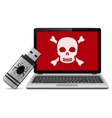 Virus infected laptop vector image vector image