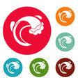 wave sea icons circle set vector image