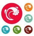 wave sea icons circle set vector image