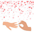 wedding male hand wearing ring to female vector image vector image