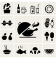 Set of black silhouette food icons vector image