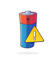 alkaline electric battery with yellow warning vector image vector image