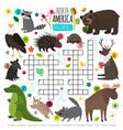 animals crossword kids words brainteaser vector image vector image