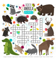 animals crossword kids words brainteaser with vector image