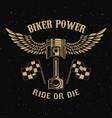 biker powerpiston with wings on dark background vector image vector image
