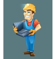 Builder with laptop helmet Isolated on dark vector image