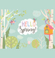 cartoon frame with spring forest and birds vector image vector image