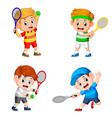 collection of the boy action doing the tennis vector image vector image