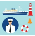 cruise ship captain boat sailor icon set vector image vector image
