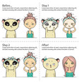 cute facial treatment instruction girl and panda vector image vector image