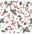 cute winter seamless white pattern with berries vector image
