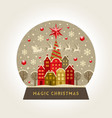 decorative flat snow globe christmas vector image vector image