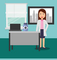 doctor female in consulting room desk laptop vector image vector image