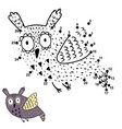 dot to dot game for kids with cute flying owl vector image vector image