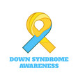 down syndrome awareness papercut ribbon vector image vector image