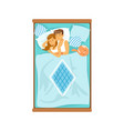 embracing young couple sleeping on the bed vector image vector image