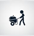 farmer with wheelbarrow cart icon simple vector image