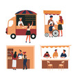 fast food street meal trolley and truck tent and vector image