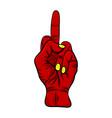 finger red devil hand design isolated on vector image