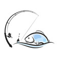 fish on the wave and fishing rod vector image vector image