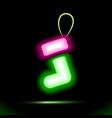 green gift christmas sock icon neon lamp vector image vector image