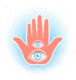 hand two eyes color vector image