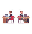 handsome male office employee sitting at desk vector image vector image