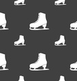 Ice skate icon sign Seamless pattern on a gray vector image