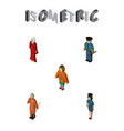 isometric people set of female policewoman vector image vector image