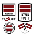 latvia quality label set for goods vector image